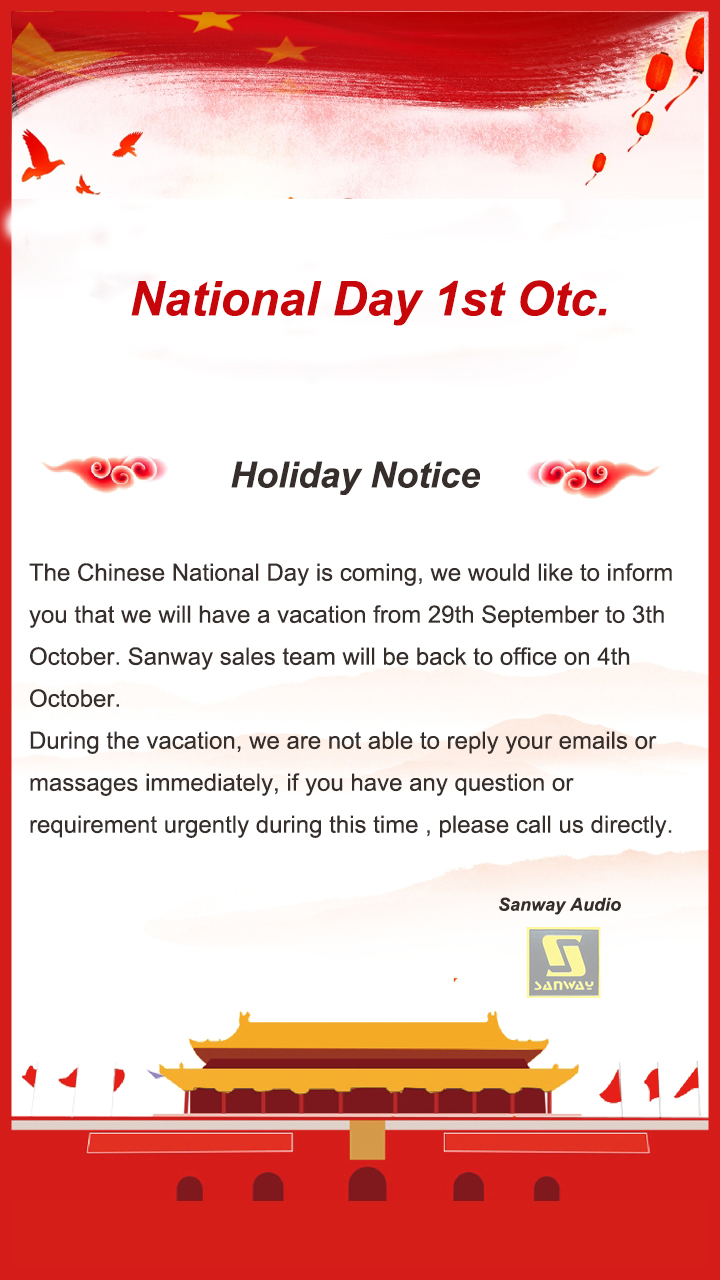 Holiday Notice: National Day